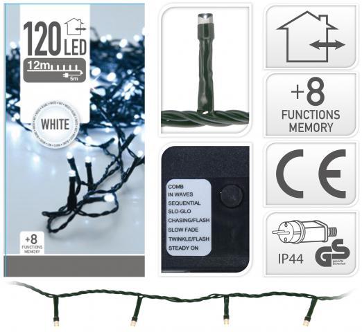 Светлинна верига OUT 120 LED 12м студено бяла светлина