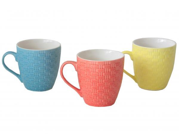 Чаша ниска за кафе цветна релеф
