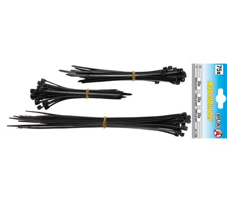 Кабелни превръзки черни 100-200мм, 75 бр.