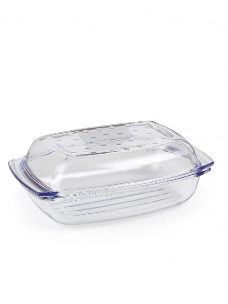Правоъгълна тенджера с капак, 4.1 л стъклена