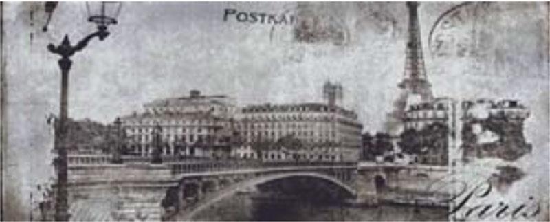 Декоративна фаянсова плочка Postcard grey inserto 1 20x50 см