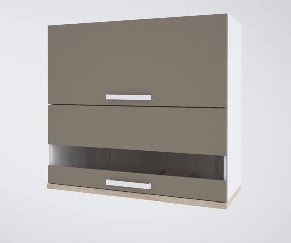 Urban горен шкаф с клапващи врата и витрина 90см, лате