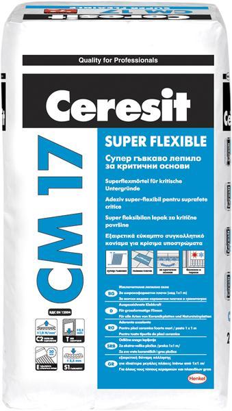 Гъвкаво лепило за плочки СМ 17. Клас C2TES1,  25кг