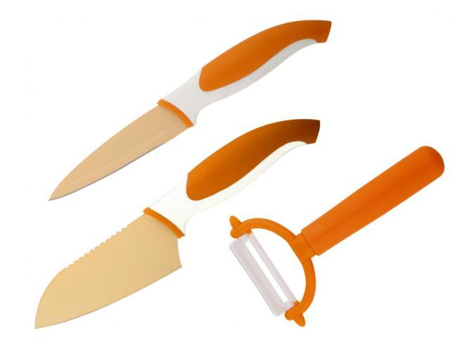 Комплект  2 ножа и белачка оранжево