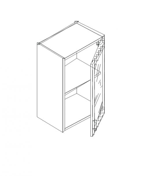 Талпи горен шкаф със стъклена врата и рафт 40х29х71.5