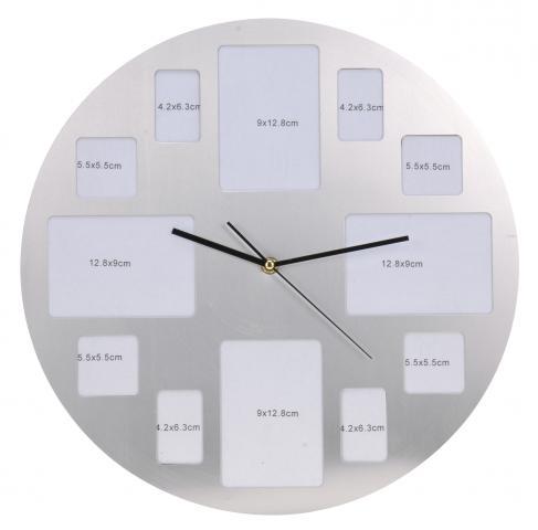 Стенен часовник с място за поставяне на 12 снимки