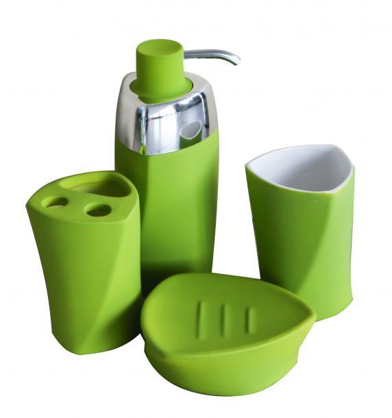 Комплект за баня 4 елемента, лукс зелен