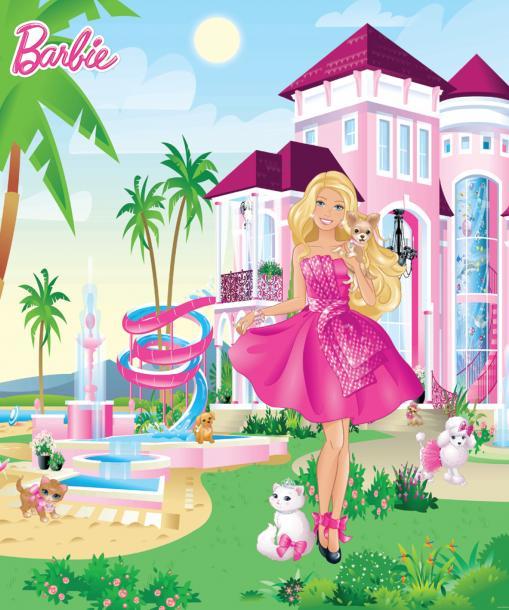 Детски фототапет Barbie Pink Palace 202х243 см