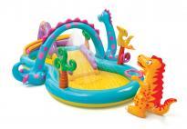 Надуваем център за игра с пързалка Динозаври