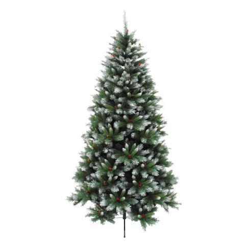 Изкуствена елха PVC зелена с бели връхчета 150см