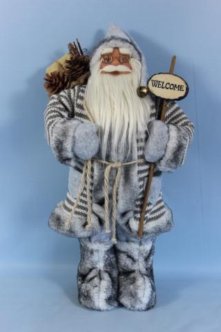 Фигура Дядо Коледа 46см, сив с табелка