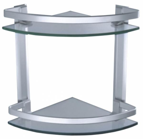 Двойна стъклена ъглова лавица