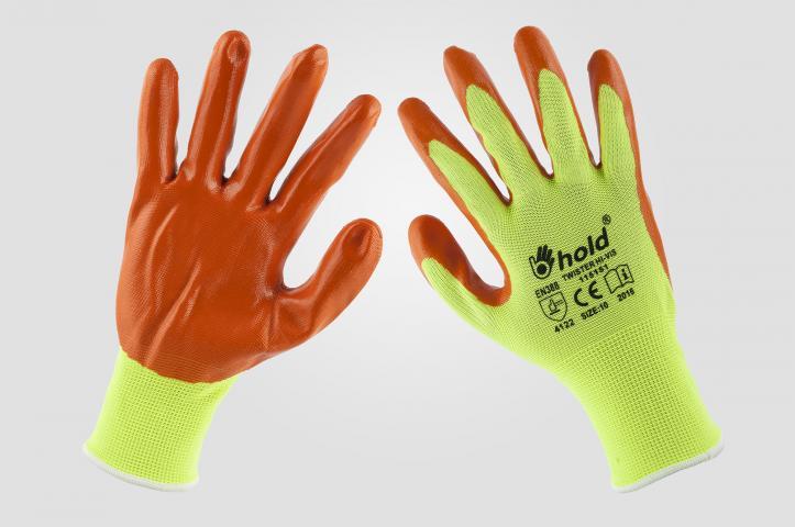 Ръкавици топени в нитрил Twister Hi-Vis №10