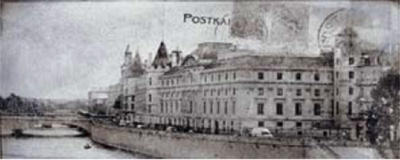 Декоративна фаянсова плочка Postcard grey inserto 2 20x50 см