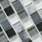 Стъклена мозайка черно, сиво