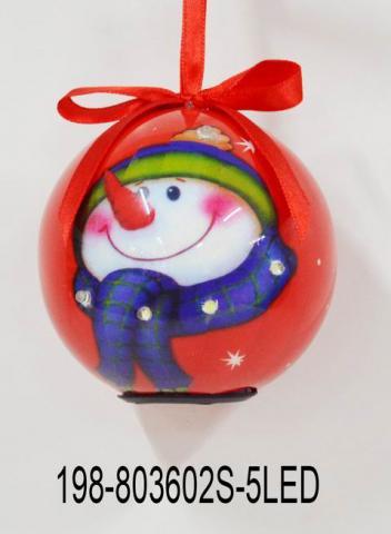 Светеща топка снежко червена с носле и шал 80мм