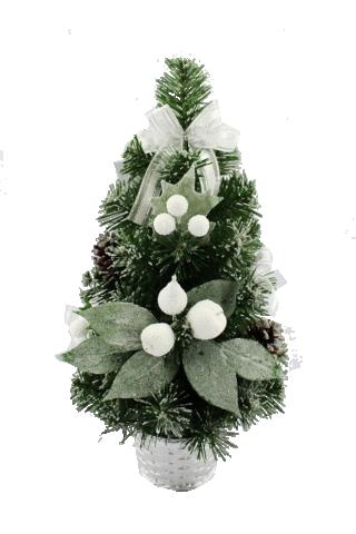 Коледна елхичка бяло-сребърно 40см