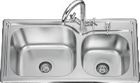 Кухненска мивка алпака- двойна 760х390х180