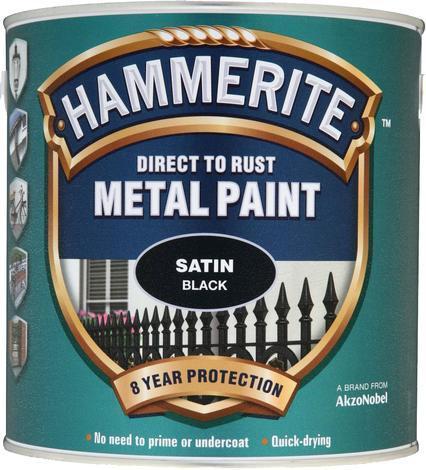 Боя за метал Hammerite 2.5л, черен сатен