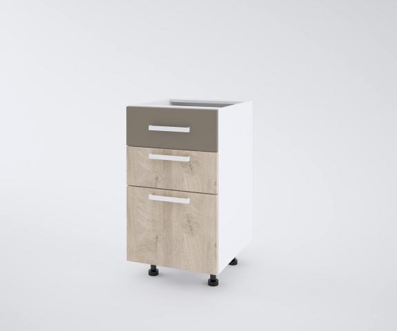 Urban долен шкаф с две плитки и едно дълбоко чекмеджета 40см, лате