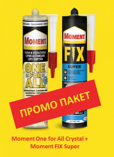 Промо пакет  Moment OneForAll Flextec монт.лепило прозрачно 290 гр  + Moment Super Fix 400 гр