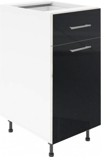 Крафт D2 долен шкаф с една врата и чекмедже 50см, черен гланц
