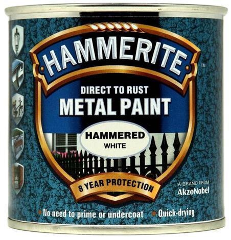 Боя за метал Hammerite 2.5л, бял хамър ефект