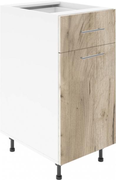 Крафт D2 долен шкаф с една врата и чекмедже 50см, дъб крафт сив