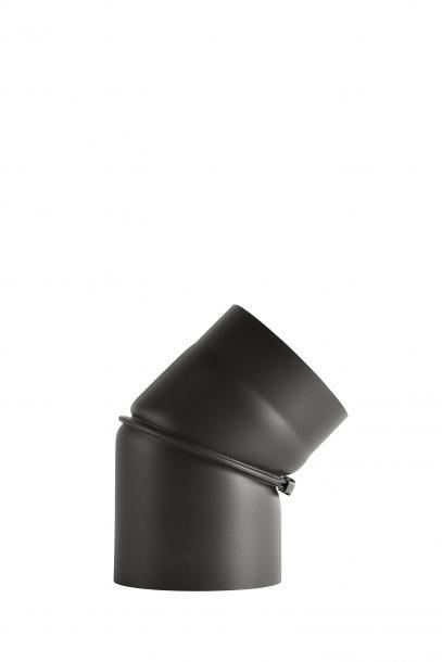 Димоотвод ф150  дъга 0-45° регулируема без вратичка 2мм senotherm® UHT-HYDRO черна