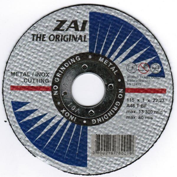 Абразивен диск 125 х 1 х 22,2 Инокс - 5 бр/пакет