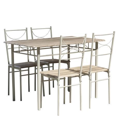 Комплект маса с 4 стола, цвят дъб 2