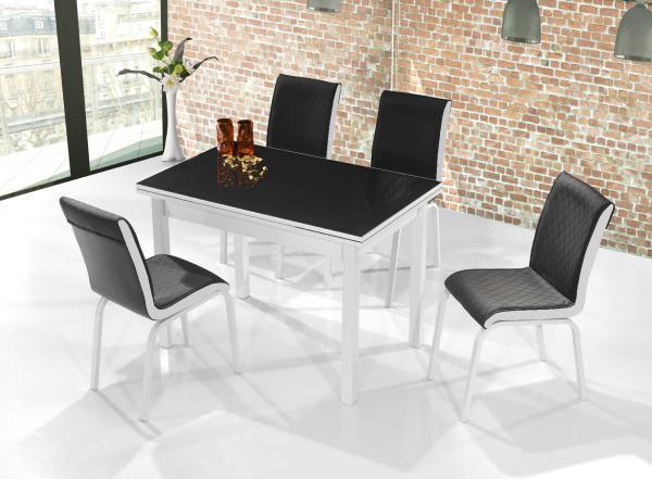 Комплект Поло Модерн маса + 4 стола, черен