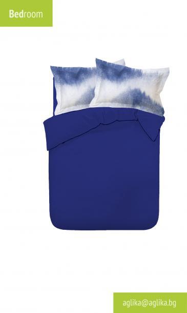 Двоен едноцветен спален комплект хасе с печатани калъфки  - син