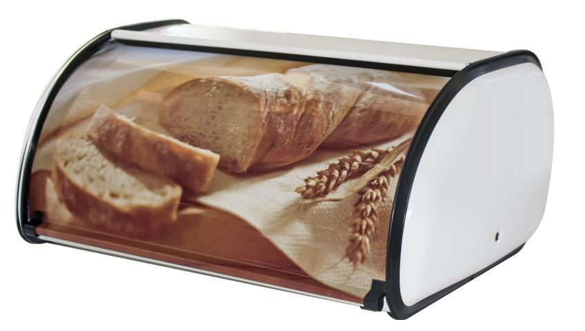 Метална кутия за хляб с декор голяма