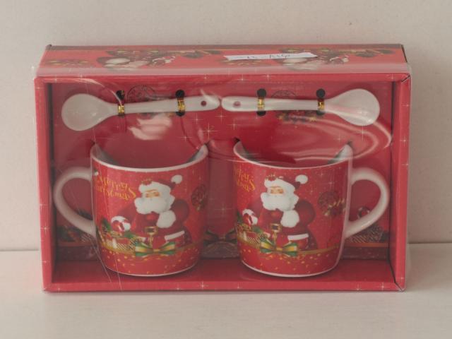 Чаши 2бр. за кафемашина Коледни + 2 лъжици