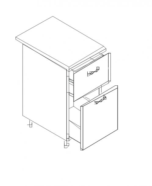 Талпи долен шкаф с две чекмеджета 80х60х89