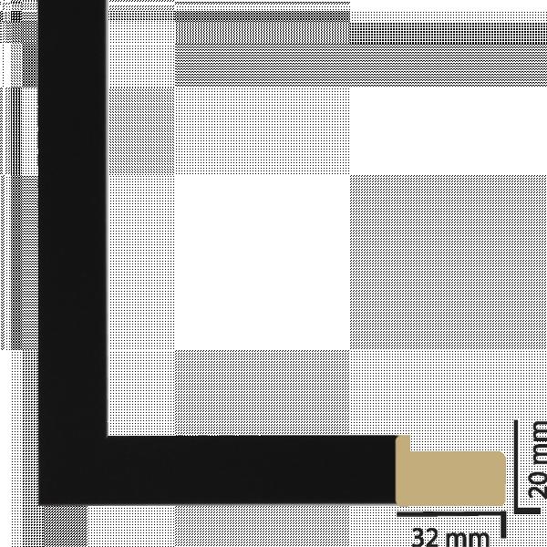 Рамка с паспарту дърво 40х50 см черно
