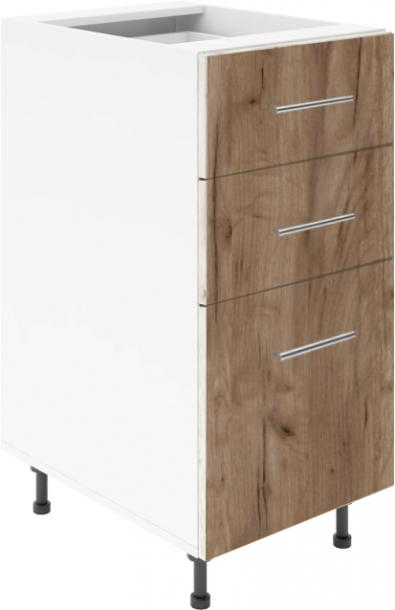 Крафт D3 долен шкаф с три чекмеджета 45см, табако крафт