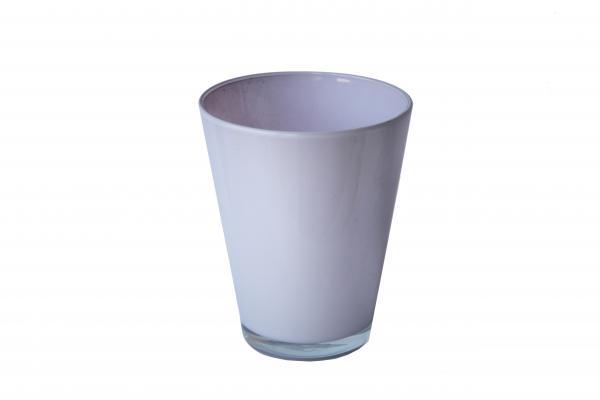 Стъклена кашпа 14.5 см бяла