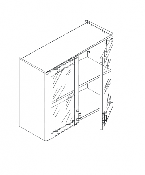 Талпи горен шкаф с 2 стъклени врати и рафт 80х29х71.5