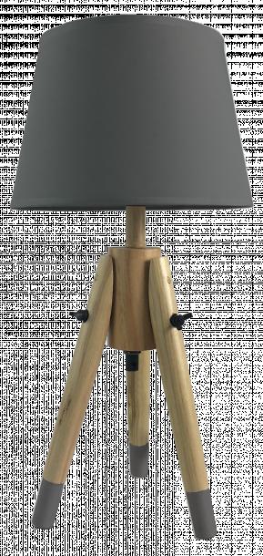Настолна лампа Талпи с дървени крака, цвят сив