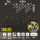 """Светеща Завеса """"Висулка"""" 180 топло бели LED /диодни/ лампички."""