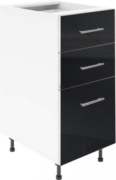 Крафт D3 долен шкаф с три чекмеджета 45см, черен гланц