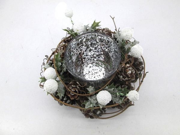 Коледен свещник 15см, бяло-сребърно