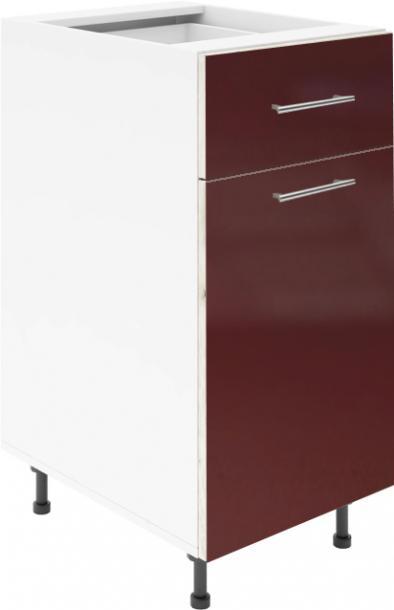 Крафт D2 долен шкаф с една врата и чекмедже 45см, бордо гланц