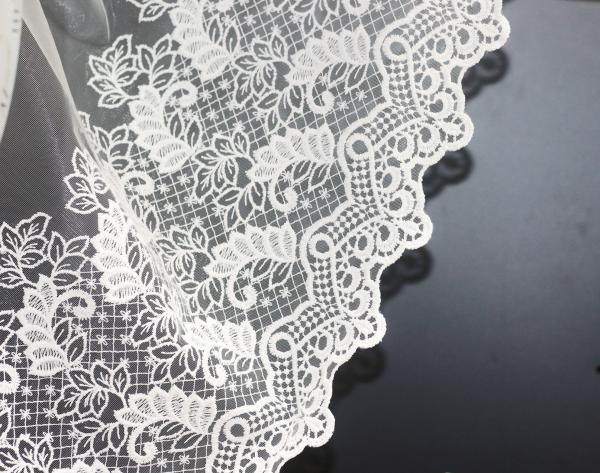 Бродиран плат за перде ORA, ширина 45 cm, бял