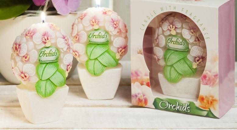 Свещ Орхидея букет 145 мм  в кутия