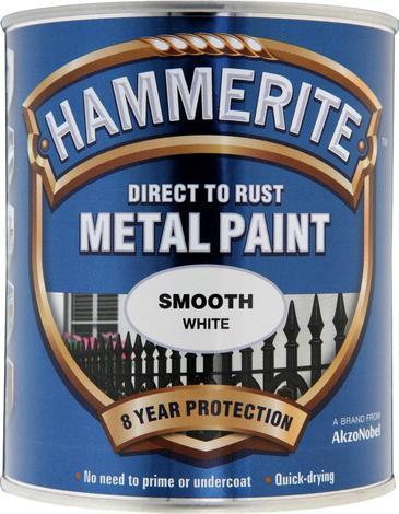 Боя за метал Hammerite 0.75л, бял гланц