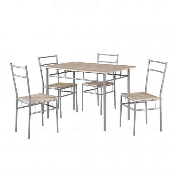Комплект маса с 4 стола, MDF, цвят дъб