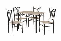Комплект маса с 4 стола MDF, цвят дъб